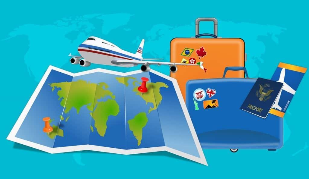 מזוודות מפה ומטוס
