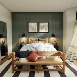 חדר שינה מעוצב עם פינת ישיבה מגניבה